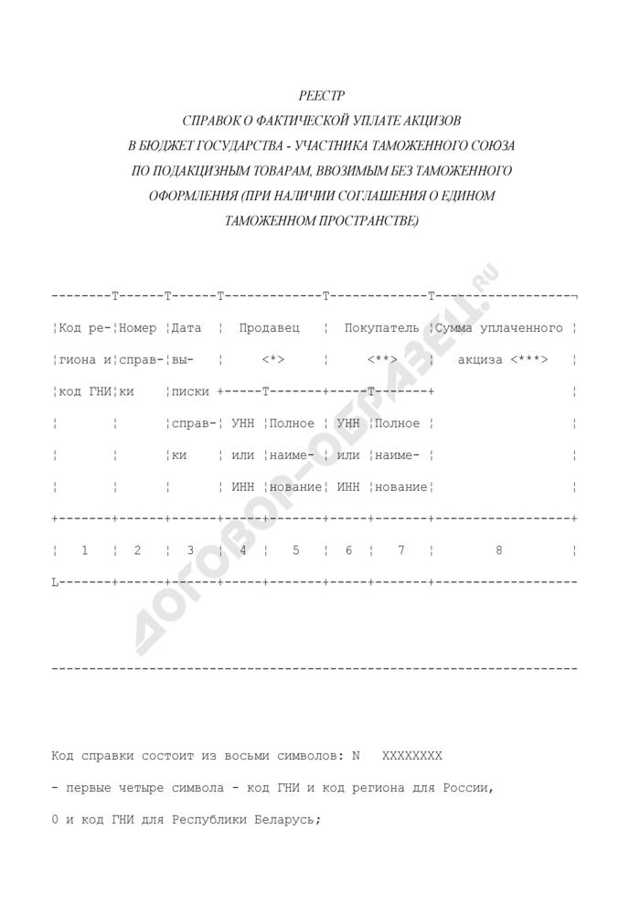Реестр справок о фактической уплате акцизов в бюджет государства - участника таможенного союза по подакцизным товарам, ввозимым без таможенного оформления (при наличии соглашения о едином таможенном пространстве). Страница 1