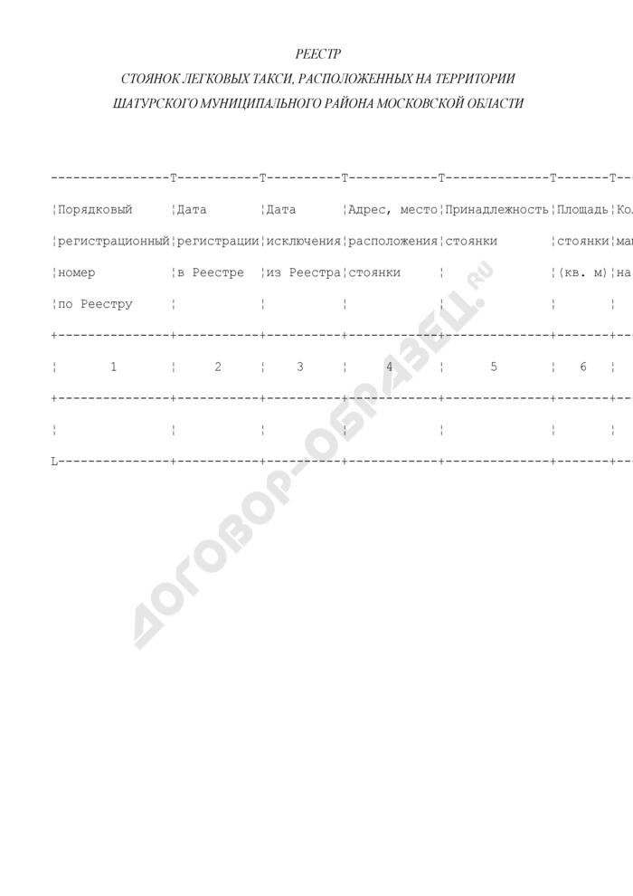 Реестр стоянок легковых такси, расположенных на территории Шатурского муниципального района Московской области. Страница 1
