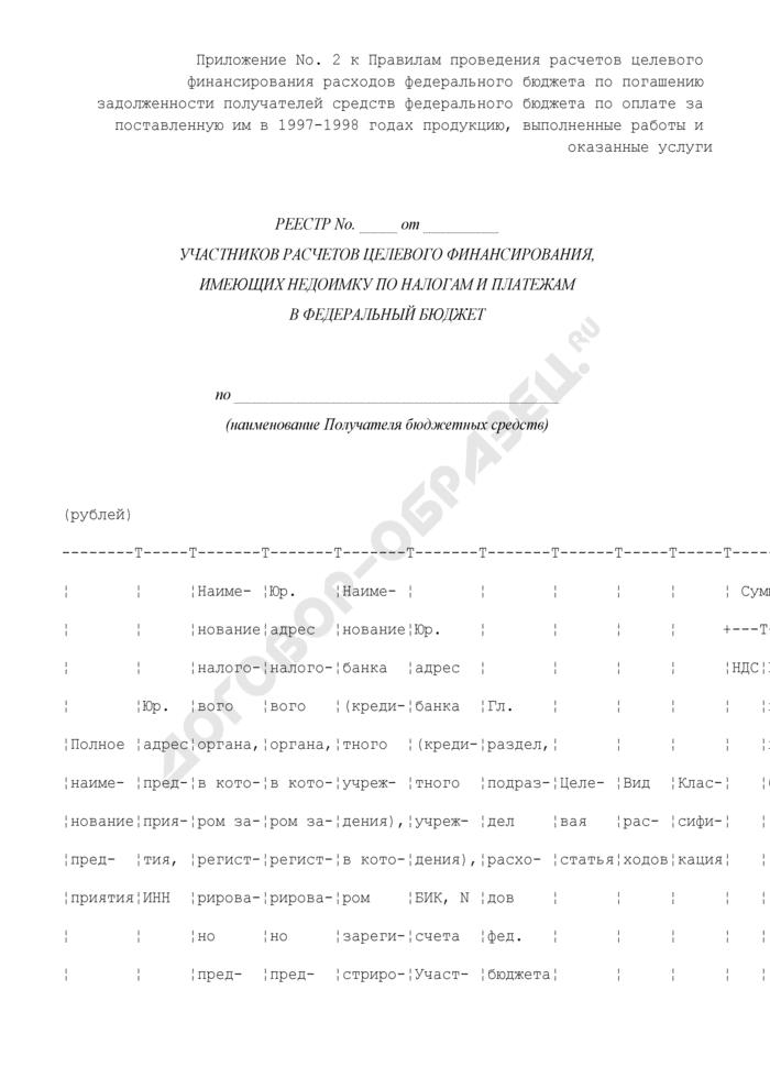 Реестр участников расчетов целевого финансирования, имеющих недоимку по налогам и платежам в федеральный бюджет. Страница 1