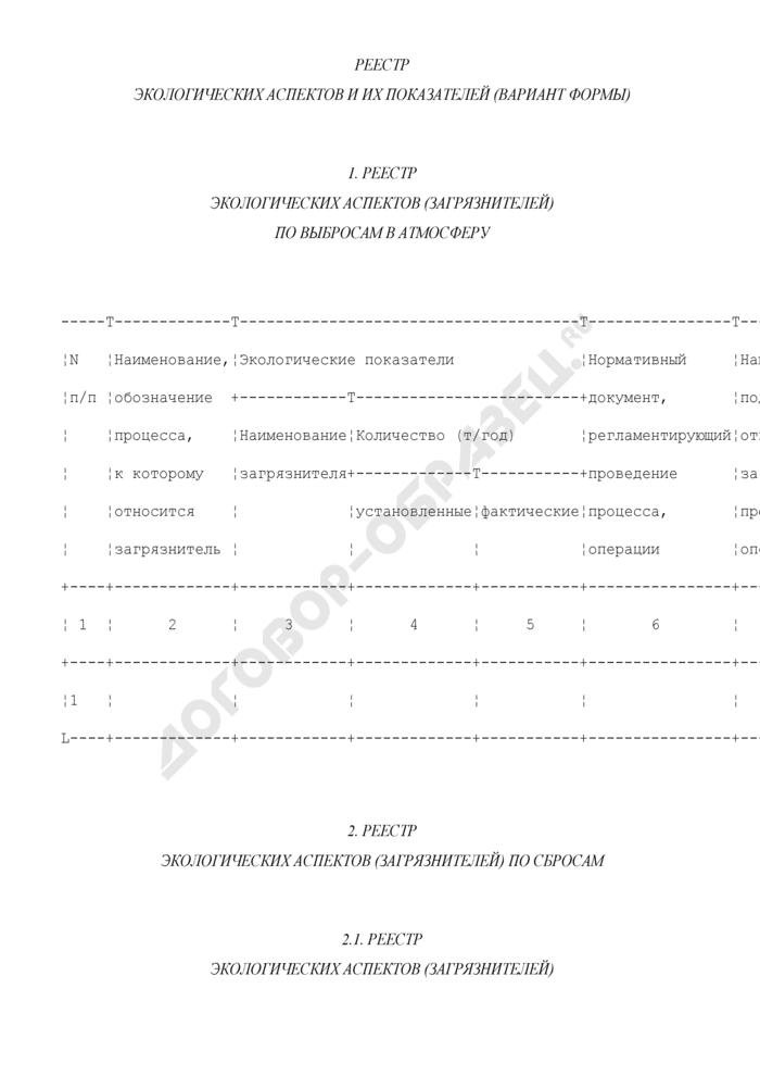 Реестр экологических аспектов и их показателей в системе управления окружающей средой на лакокрасочных предприятиях города Москвы (вариант формы). Страница 1