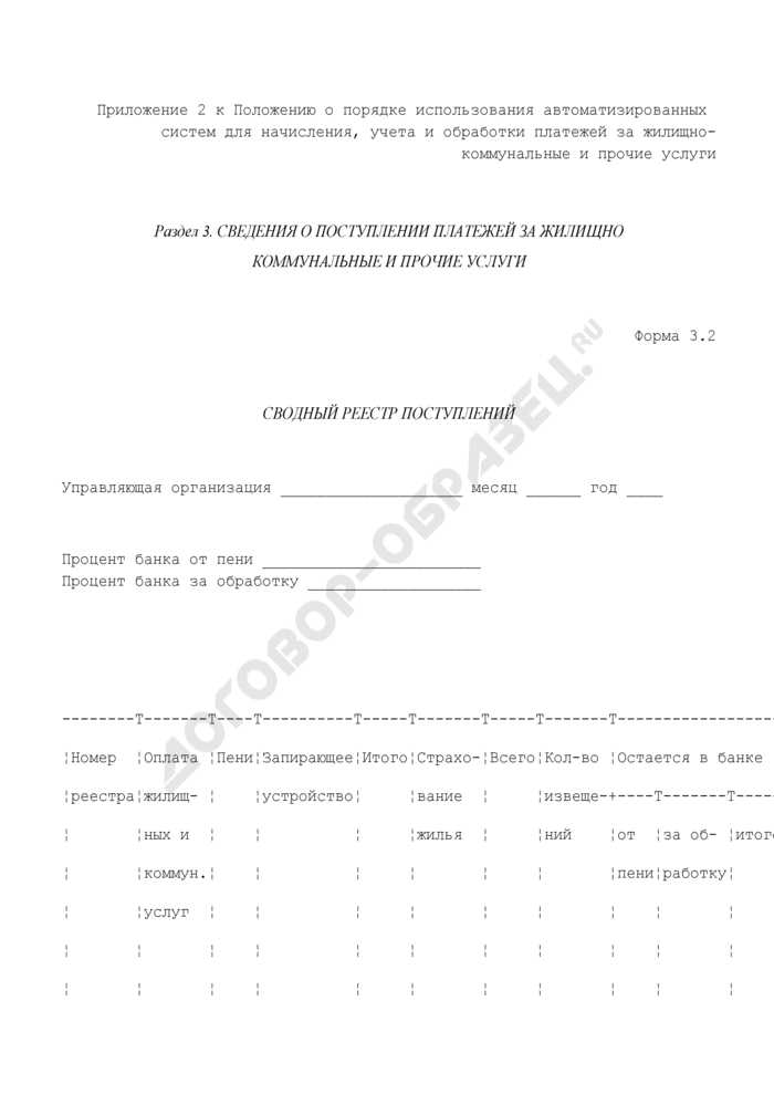 Сведения о поступлении платежей за жилищно-коммунальные и прочие услуги. Сводный реестр поступлений. Форма N 3.2. Страница 1