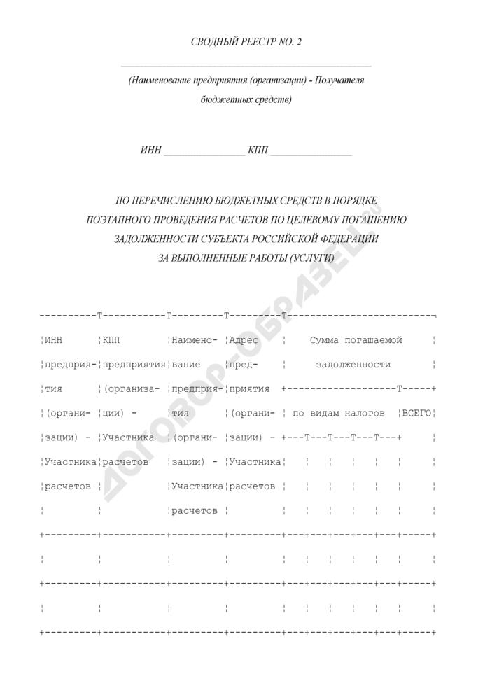 Сводный реестр по перечислению бюджетных средств в порядке поэтапного проведения расчетов по целевому погашению задолженности субъекта Российской Федерации за выполненные работы (услуги). Страница 1