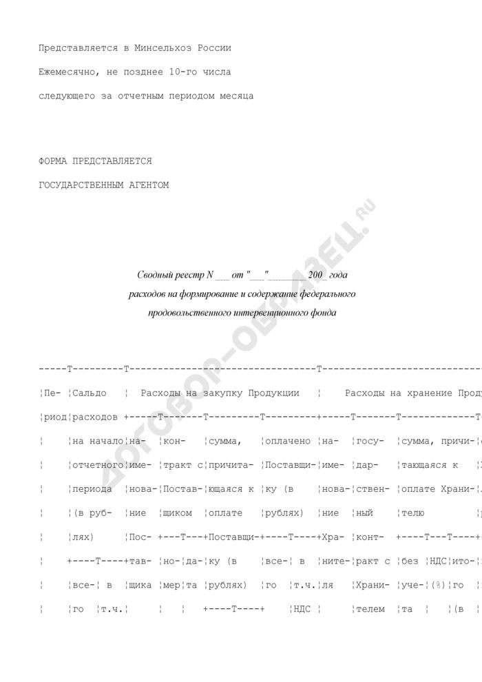 Сводный реестр расходов на формирование и содержание федерального продовольственного интервенционного фонда. Страница 1