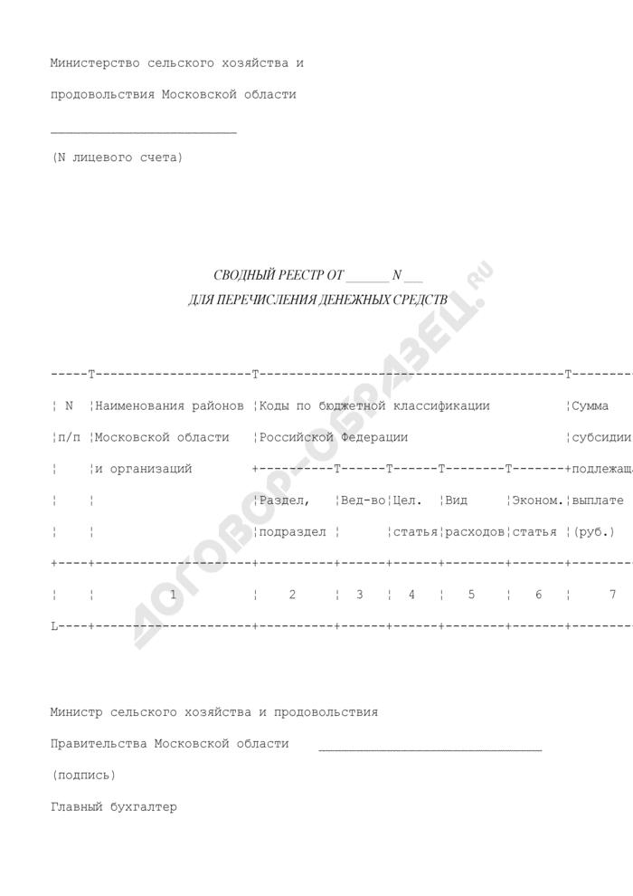 Сводный реестр для перечисления денежных средств. Страница 1
