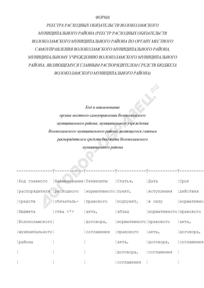 Форма реестра расходных обязательств Волоколамского муниципального района (реестр расходных обязательств Волоколамского муниципального района по органу местного самоуправления Волоколамского муниципального района, муниципальному учреждению Волоколамского муниципального района, являющемуся главным распорядителем средств бюджета Волоколамского муниципального района). Страница 1