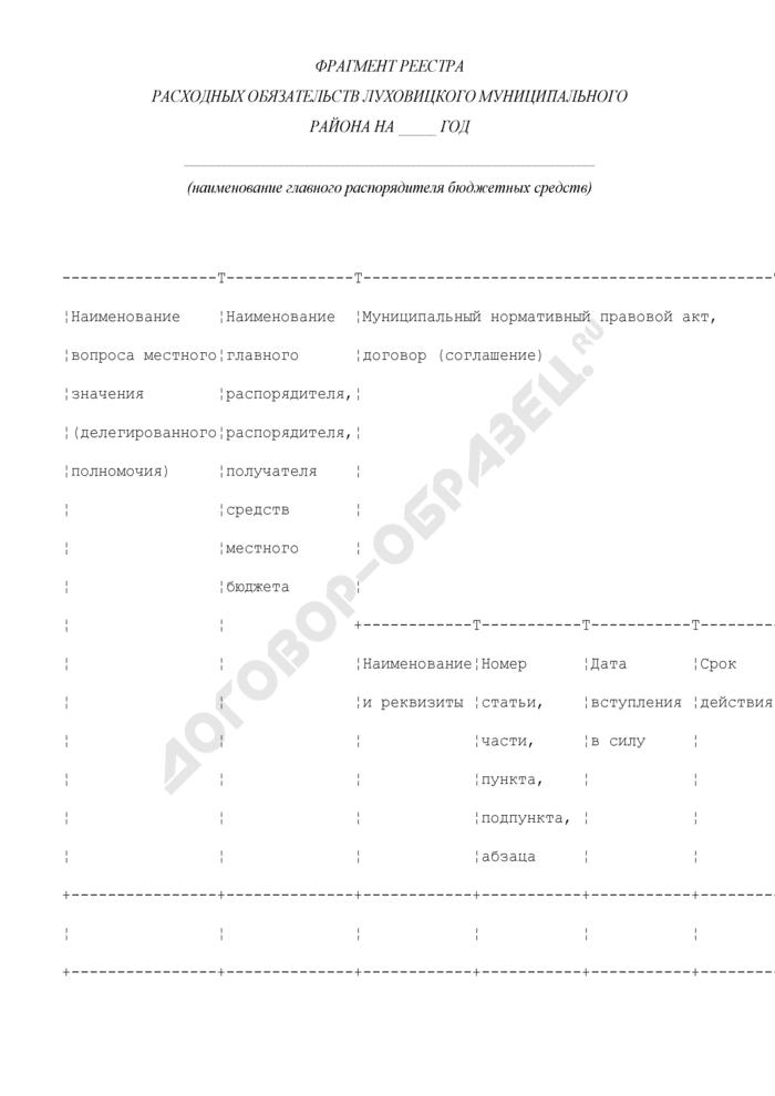 Фрагмент реестра расходных обязательств Луховицкого муниципального района. Страница 1