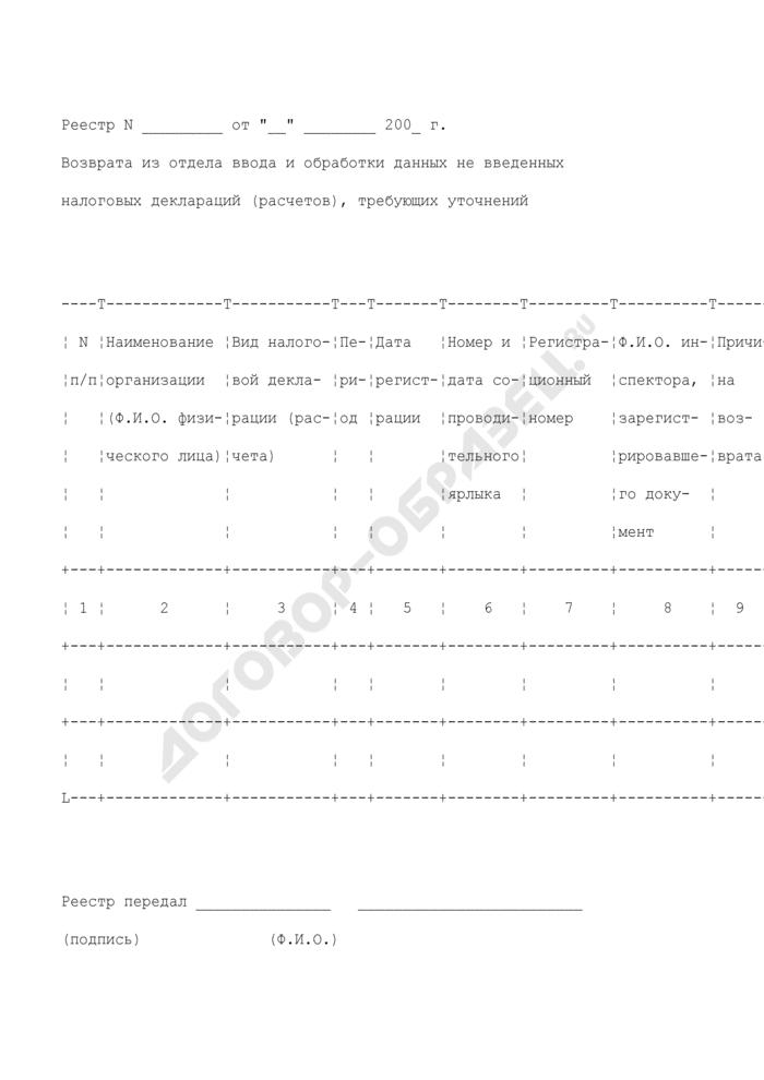 Реестр возврата из отдела ввода и обработки данных не введенных налоговых деклараций (расчетов), требующих уточнений. Страница 1