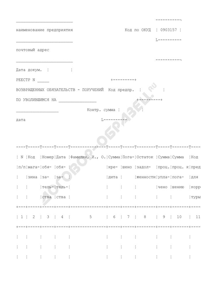 Реестр возвращенных обязательств-поручений по уволившимся. Специализированная форма N 8-ТКр. Страница 1