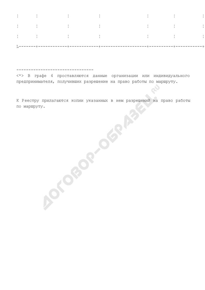 Реестр выданных и аннулированных бланков разрешений на право работы по маршруту в Московской области. Страница 2