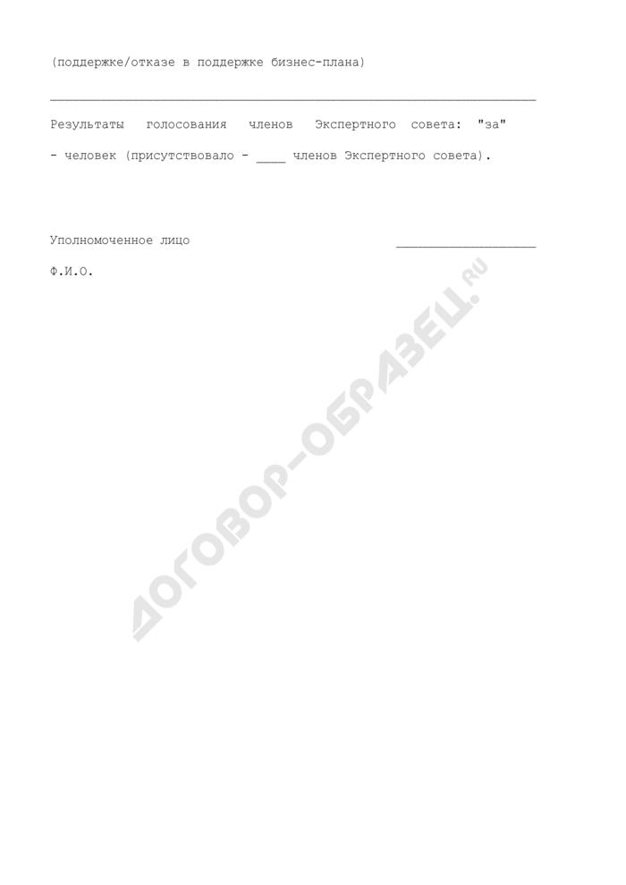 Образец решения Экспертного совета по технико-внедренческим особым экономическим зонам на территории субъекта Российской Федерации. Страница 3