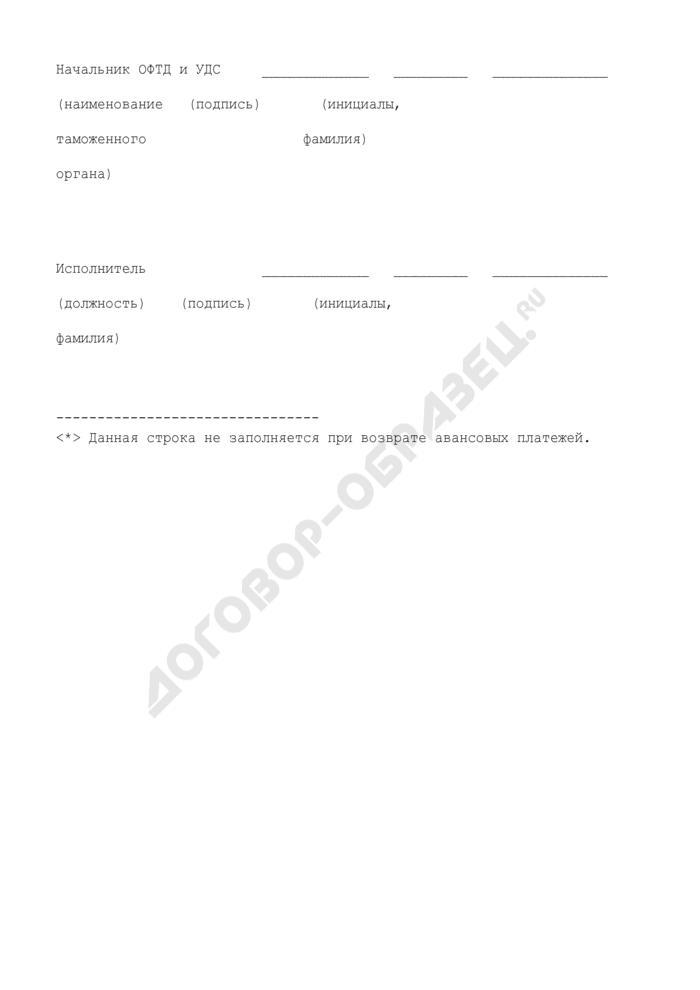 Решение о возврате денежных средств (приложение к методическим указаниям о порядке применения таможенными органами положений Таможенного кодекса Российской Федерации, относящихся к таможенным платежам). Страница 3