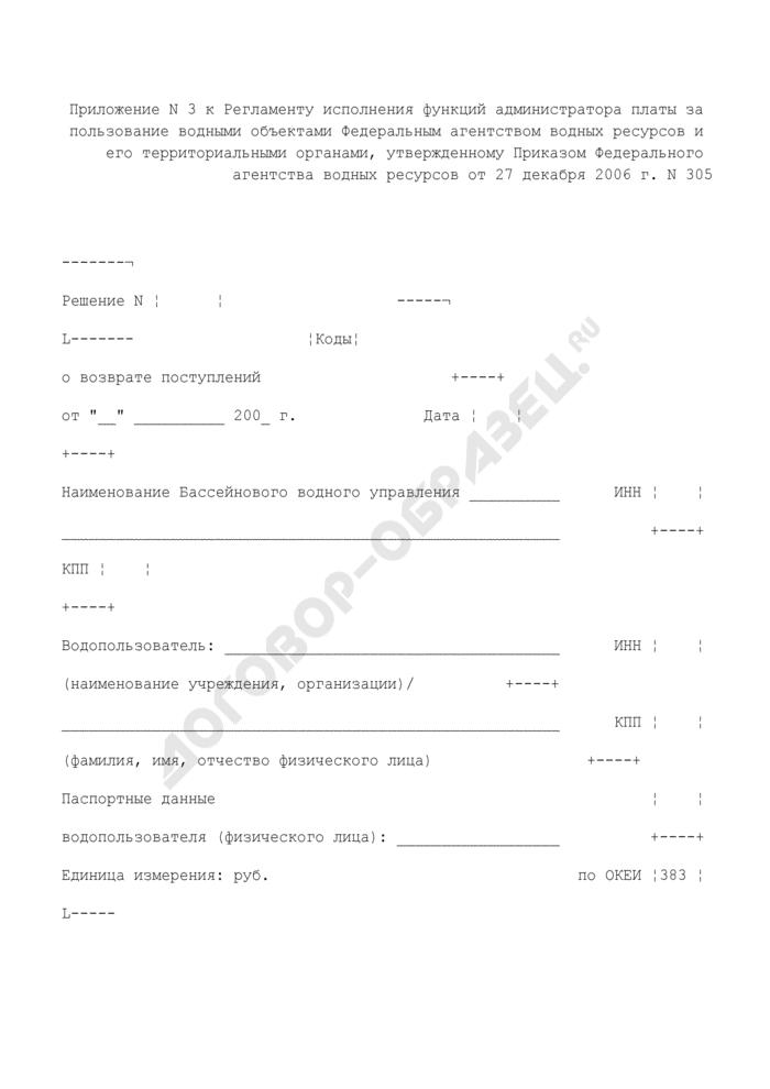 Решение о возврате поступлений суммы платы за пользование водными объектами уполномоченным администратора на основании письменного заявления водопользователя и на основании данных карточки учета. Страница 1
