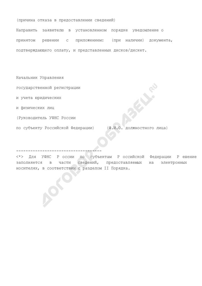 Решение об отказе в предоставлении сведений, содержащихся в едином государственном реестре юридических лиц и едином государственном реестре индивидуальных предпринимателей. Страница 2