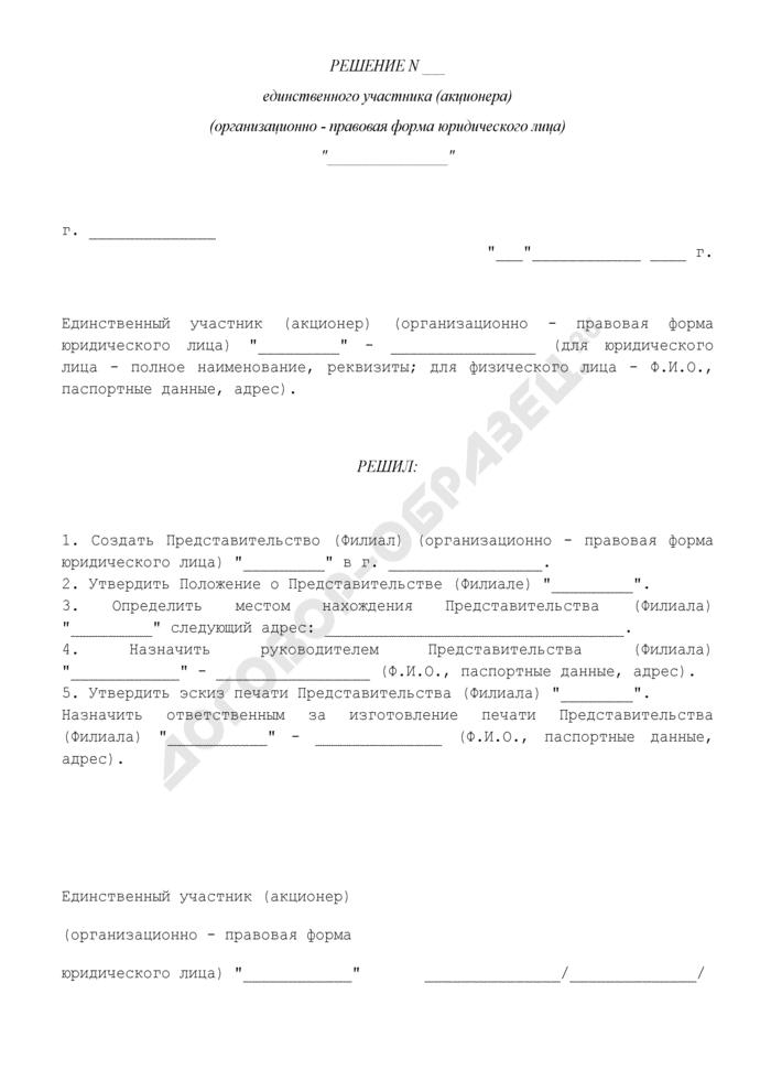 Решение единственного участника (акционера) об открытии представительства (филиала). Страница 1