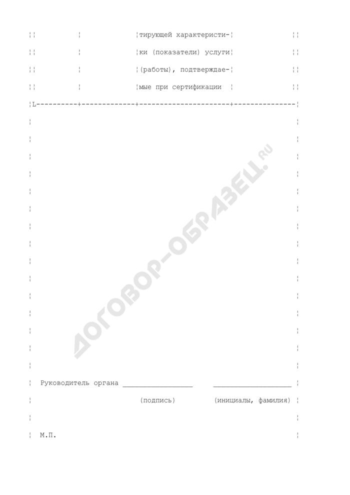 Форма приложения к сертификату соответствия на услуги, работы. Страница 2