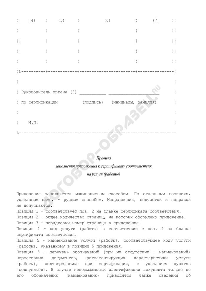 Форма приложения к сертификату соответствия на услуги (работы) автомобильного транспорта. Страница 2