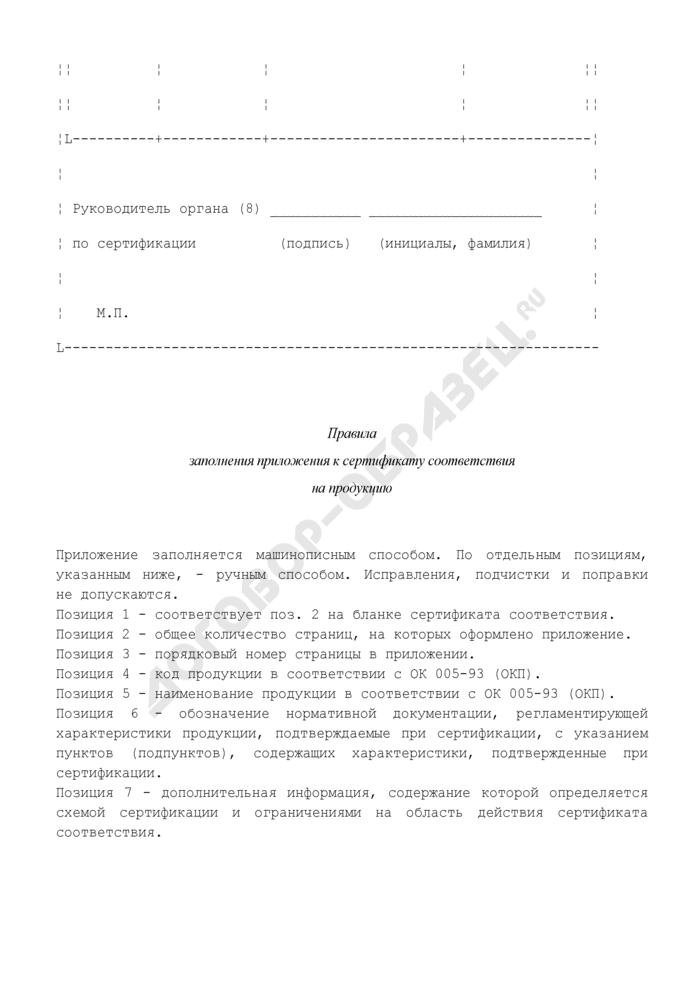 Форма приложения к сертификату соответствия на продукцию в системе добровольной сертификации на автомобильном транспорте. Страница 2
