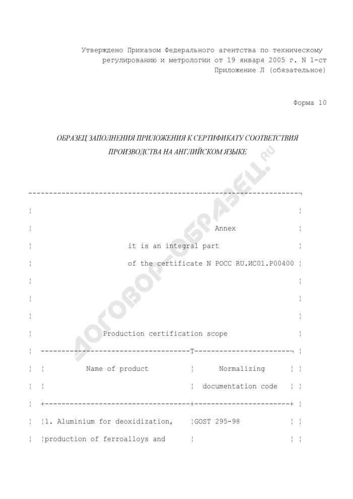 Образец заполнения приложения к сертификату соответствия производства на английском языке. Форма N 10 (англ.). Страница 1