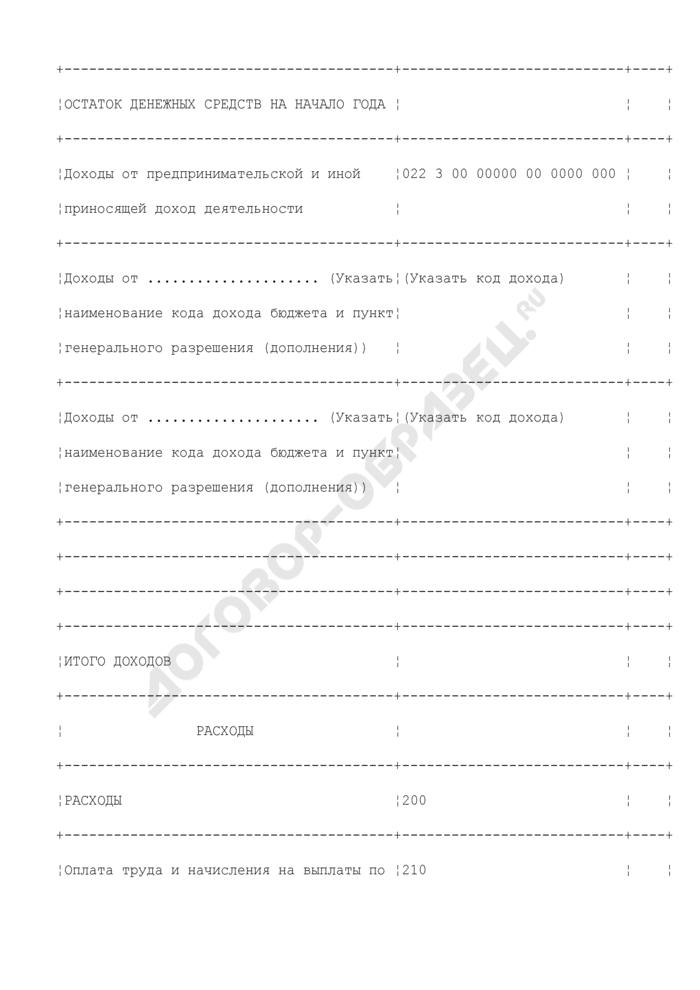Смета доходов и расходов бюджетного учреждения по средствам, полученным от приносящей доход деятельности. Форма N 2. Страница 2
