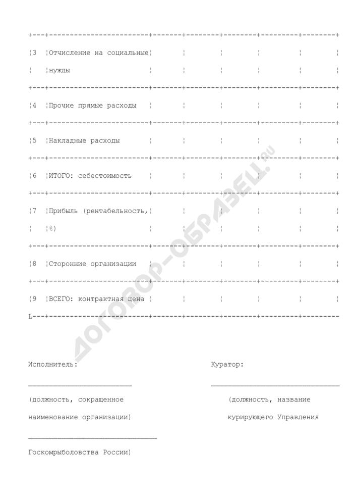 """Смета затрат (приложение к протоколу согласования контрактной цены по государственному контракту на выполнение в 2008 году научно-исследовательских и опытно-конструкторских работ по направлению """"Проведение исследований в области экономики и управления рыбохозяйственным комплексом"""" для нужд госкомрыболовства России). Страница 2"""