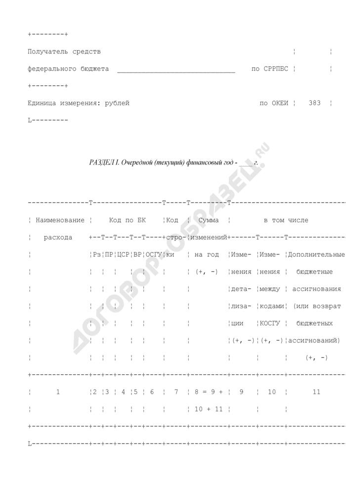 Изменения в бюджетную смету центрального аппарата Федерального казначейства и управления Федерального казначейства по субъекту Российской Федерации. Страница 2