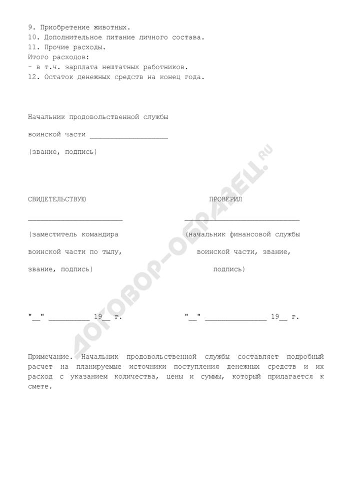 Смета доходов и расходов подсобного хозяйства воинской части. Страница 2