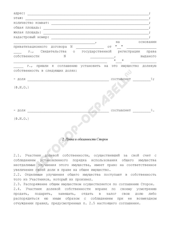 Соглашение об определении долей в праве долевой собственности на квартиру. Страница 2