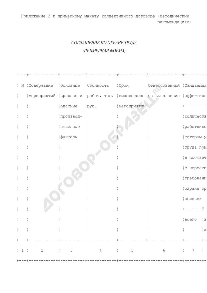 Соглашение по охране труда (примерная форма). Страница 1