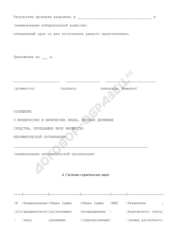 Сообщение о юридических и физических лицах, внесших денежные средства, передавших иное имущество некоммерческой организации. Страница 2