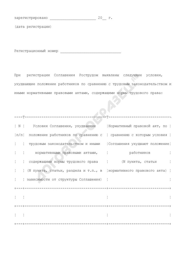 Сообщение о выявленных условиях отраслевого (межотраслевого) Соглашения, заключенного на федеральном уровне социального партнерства, ухудшающих положение работников (образец). Страница 2