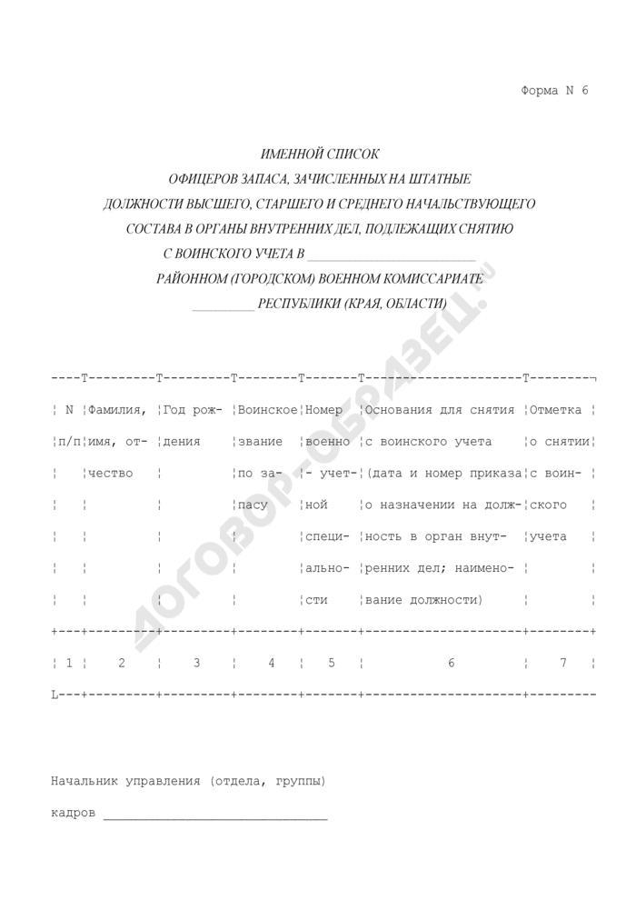 Именной список офицеров запаса, зачисленных на штатные должности высшего, старшего и среднего начальствующего состава в органы внутренних дел, подлежащих снятию с воинского учета. Форма N 6. Страница 1