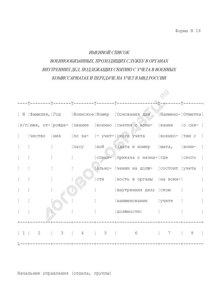 Именной список военнообязанных, проходящих службу в органах внутренних дел, подлежащих снятию с учета в военных комиссариатах и передаче на учет в МВД России. Форма N 16. Страница 1