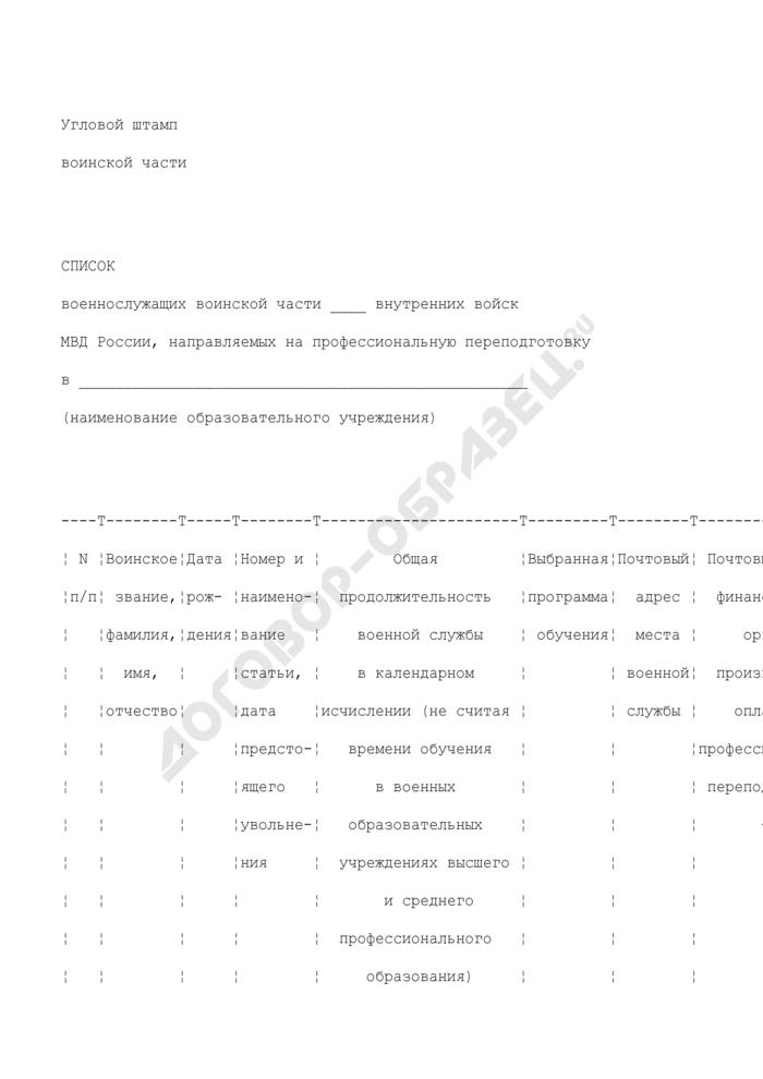 Список военнослужащих воинской части внутренних войск министерства внутренних дел России, направляемых на профессиональную переподготовку в образовательное учреждение. Страница 1