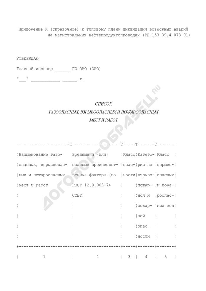 Список газоопасных, взрывоопасных и пожароопасных мест и работ. Страница 1