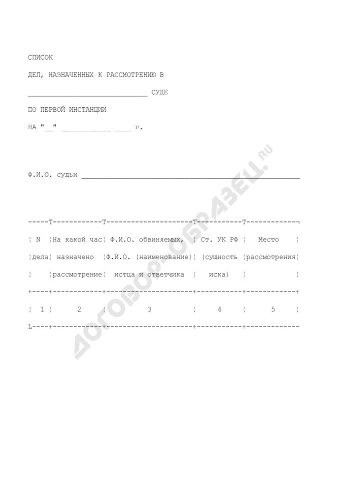 Список дел, назначенных к рассмотрению в суде первой инстанции. Форма N 25. Страница 1