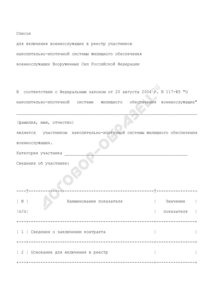 Список для включения военнослужащих в реестр участников накопительно-ипотечной системы жилищного обеспечения военнослужащих Вооруженных Сил Российской Федерации. Страница 1