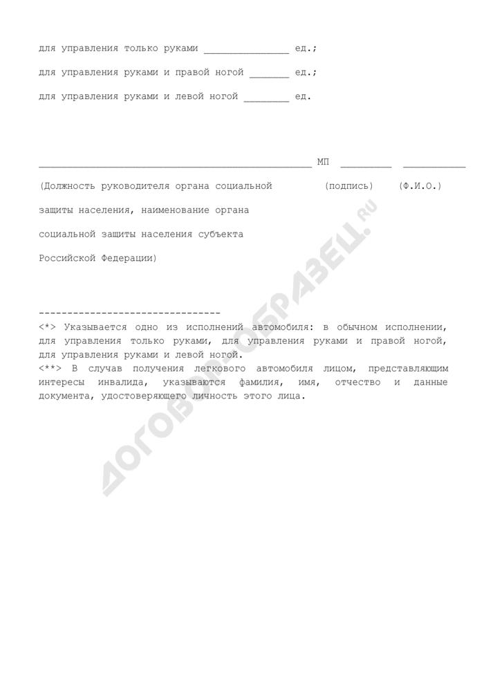Список инвалидов, которые на 1 января 2005 г. состояли на учете для обеспечения транспортными средствами бесплатно или на льготных условиях в соответствии с медицинскими показаниями, для обеспечения легковыми автомобилями в субъекте Российской Федерации. Страница 2