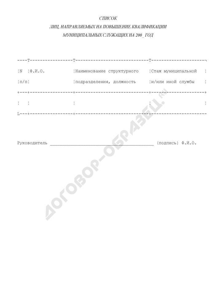 Список лиц, направляемых на повышение квалификации муниципальных служащих в администрации городского поселения Солнечногорск Московской области. Страница 1