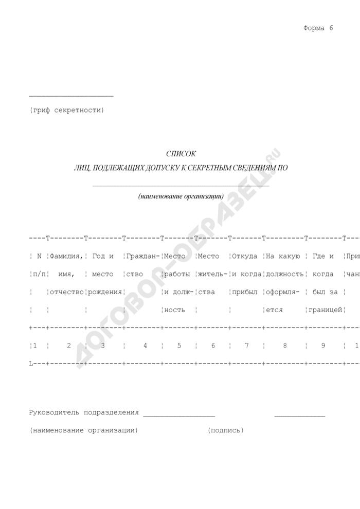 Список лиц, подлежащих допуску к секретным сведениям. Форма N 6. Страница 1