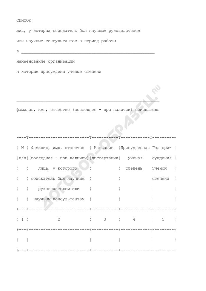 Список лиц, у которых соискатель был научным руководителем или научным консультантом в период работы и которым присуждены ученые степени. Страница 1