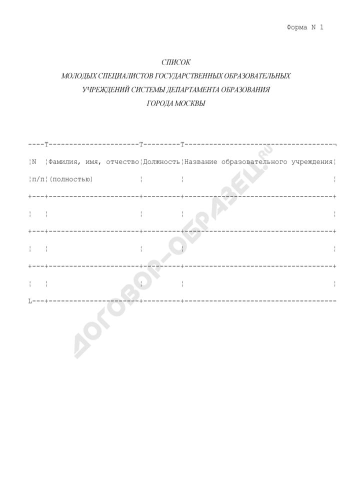Список молодых специалистов государственных образовательных учреждений системы Департамента образования города Москвы. Форма N 1. Страница 1