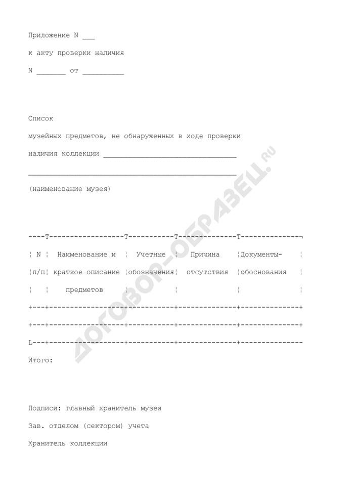 Список музейных предметов, не обнаруженных в ходе проверки наличия коллекции музея. Страница 1
