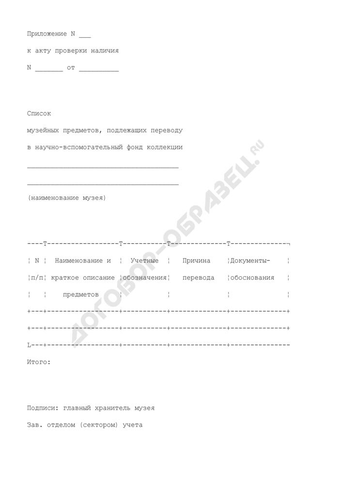 Список музейных предметов, подлежащих переводу в научно-вспомогательный фонд коллекции музея. Страница 1