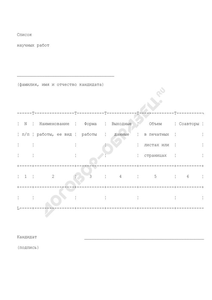 Список научных работ кандидата на получение стипендии Министра обороны Российской Федерации. Страница 1