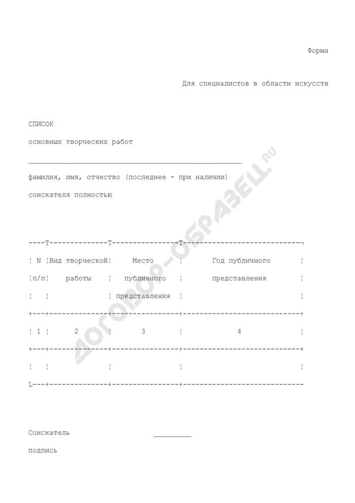 Список основных творческих работ соискателя ученого звания по кафедре (для специалистов в области искусств). Страница 1