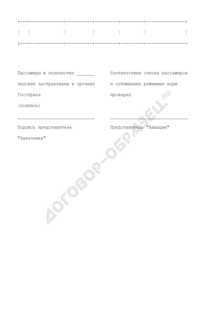 Список пассажиров (к заявке на авиационное обслуживание). Страница 2