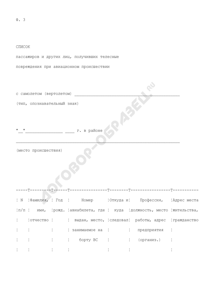 Список пассажиров и других лиц, получивших телесные повреждения при авиационном происшествии. Форма N 3. Страница 1