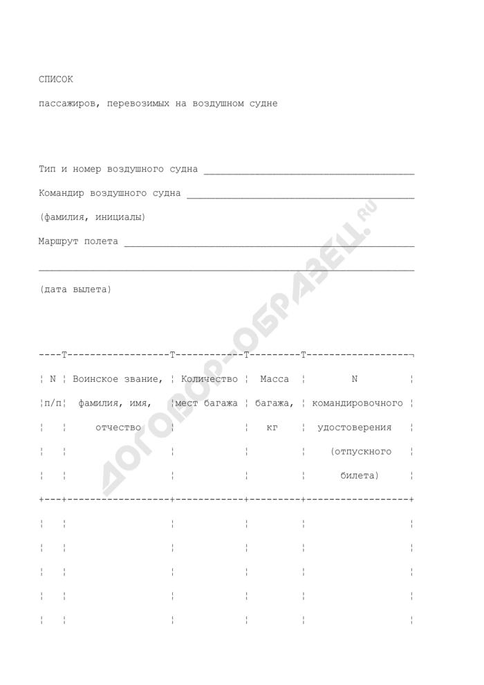 Список пассажиров, перевозимых на воздушном судне. Страница 1