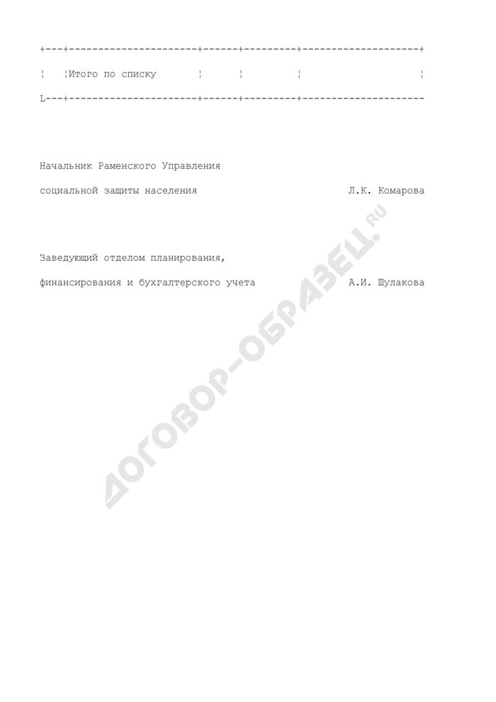 Список получателей субсидии по оплате жилого помещения и коммунальных услуг через отделение сберегательного банка на территории Раменского района Московской области (приложение к реестру на выплату денежных средств через отделения Сберегательного банка Российской Федерации). Страница 2