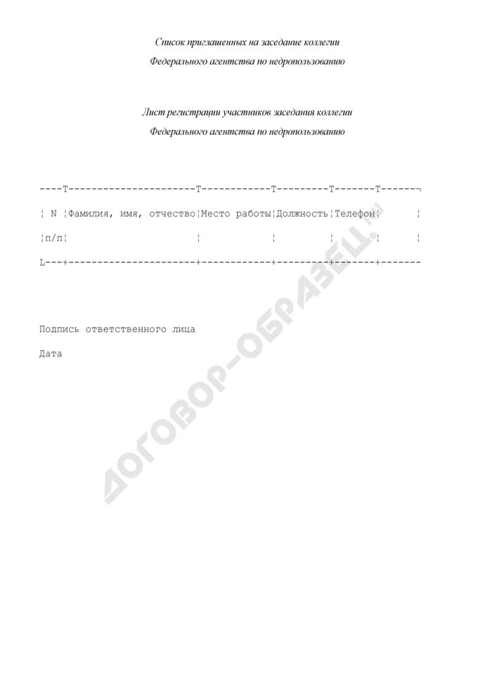 Список приглашенных на заседание коллегии Федерального агентства по недропользованию. Страница 1